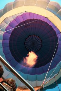 Hot air balloon showing fire from underneath
