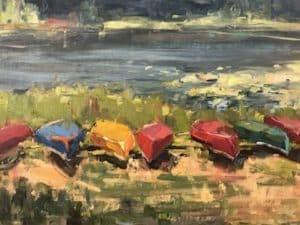 A painting of colorful canoes lines up on the beach by a lake.
