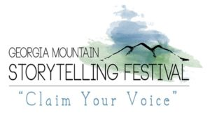 The logo for the Georgia Mountain Storytelling Fest: these words displayed over a sketch of blue and green mountains.