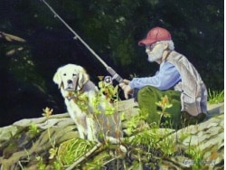 A painting of a man fishing with his faithful golden retriever beside him.
