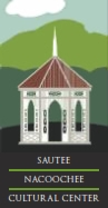 "The logo for the center: a white gazebo-looking building with the words ""Sautee Nacoochee"" underneath it."