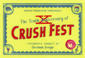 Yellow and blue textual graphic advertising the tenth anniversary of Crush Fest