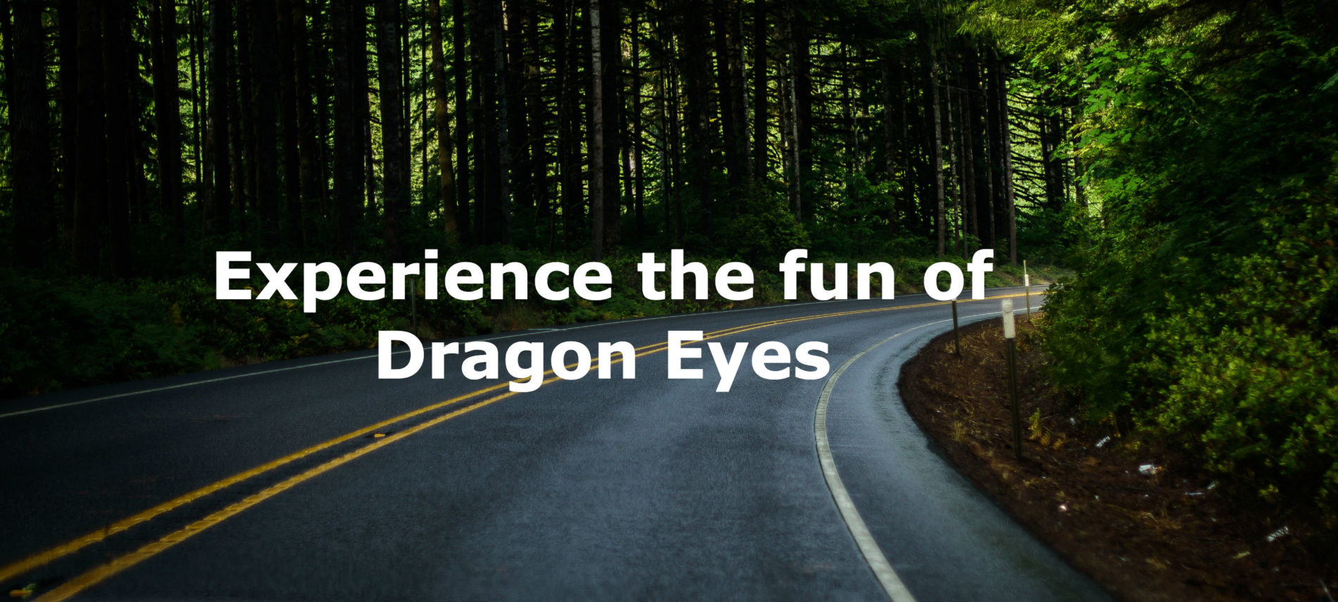 Close up photo of a curvy road. with dark green forest. Title: Experience the fun of Dragon Eyes