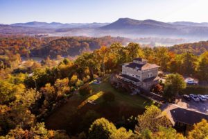 A drone view of Lucille's Mountain Top Inn & Spa overlooking the north Georgia Mountains