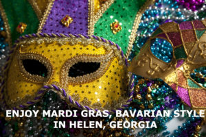 A beaded purple and gold Mardi Gras mask sitting atop colorful beads.