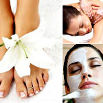 Three images: a woman's feet in a wrap, woman getting massage, and woman receiving facial.