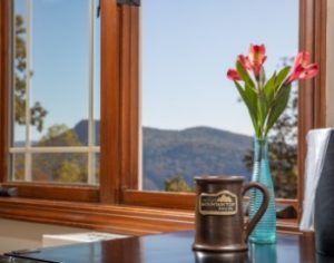 A Lucille's Mountain Top Inn mug sits on a table near a window overlooking the Blue Ridge Mountains.