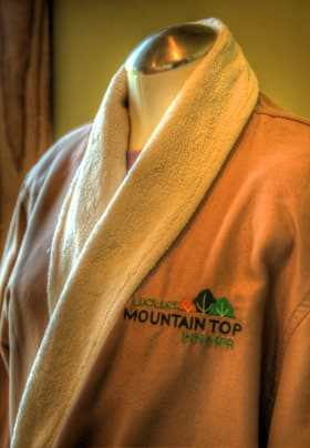 Nice brownish robe with the bed and breakfast logo embroidered onto the roabe
