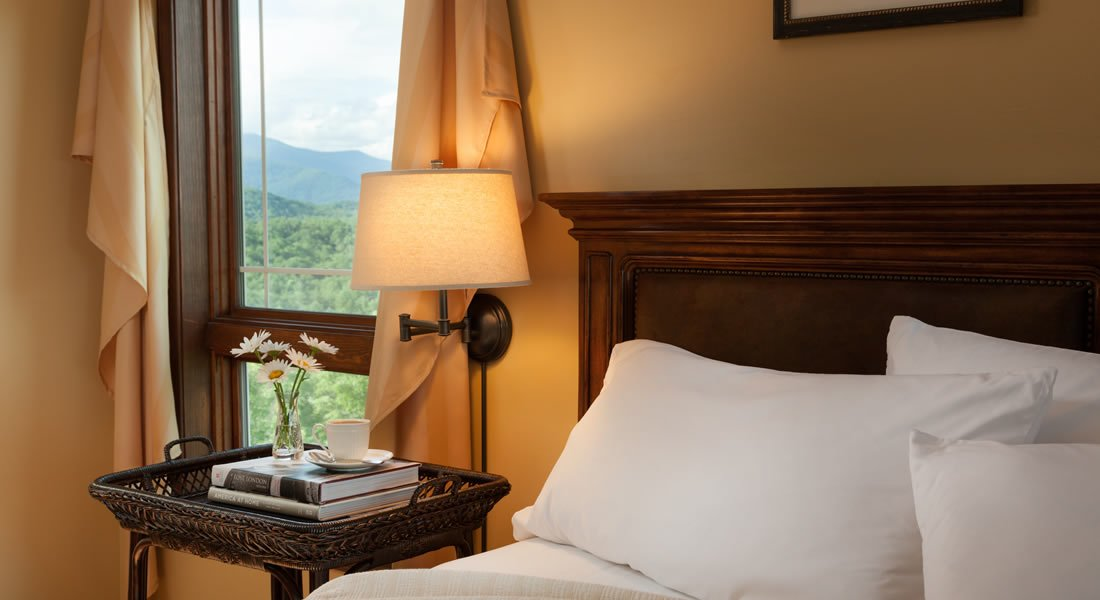 Head board with white pillows leaning, night stand with lamp attached to the wall, also a view out the window of the mountains