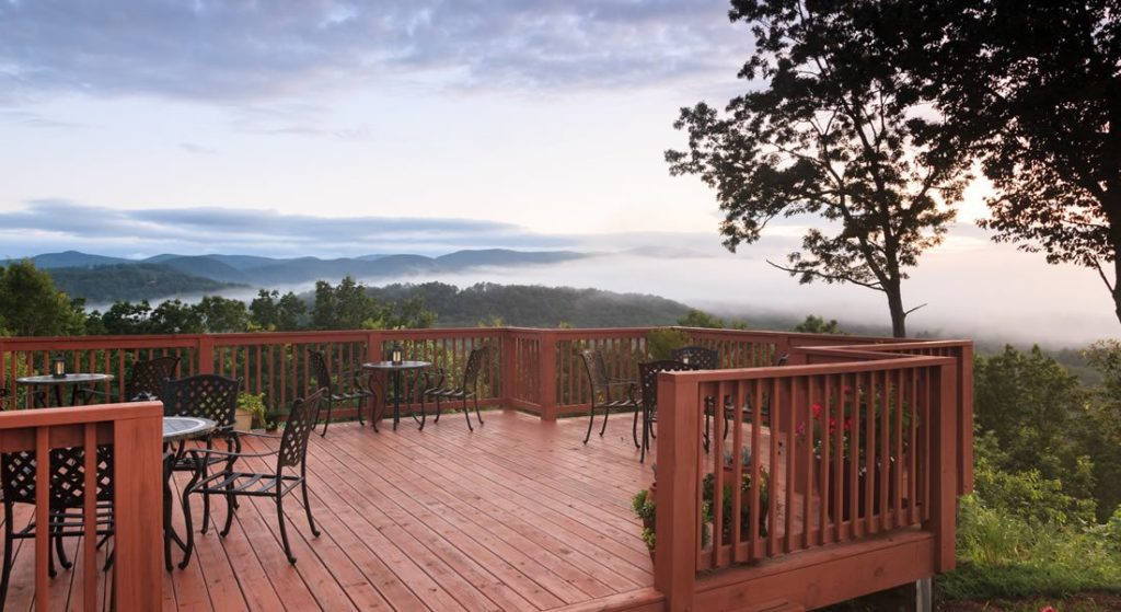 Foggy view of the Blue Ridge Mountains from the back deck of Lucille's.