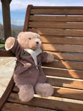 small brown stuffed bear on a wood slat chair with a robe match the large ones