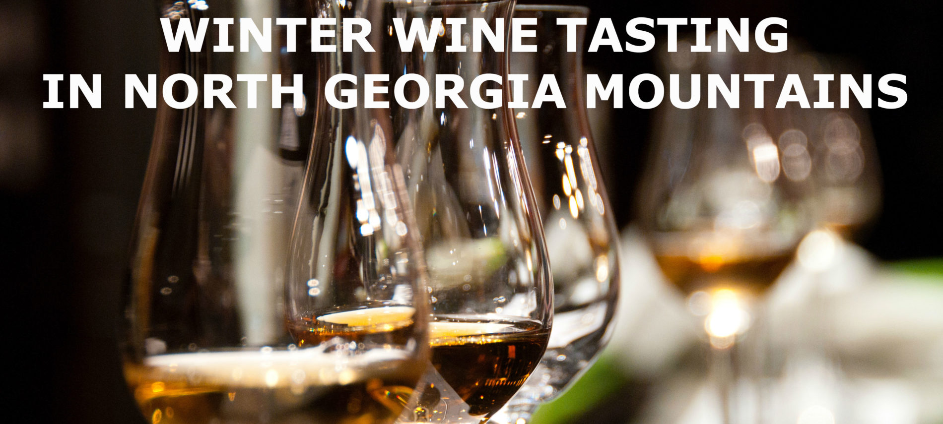 """A lineup of wine glasses with white wine. First 3 in focus. Title: Winter Wine Tasting in North Georgia Mountains"""""""